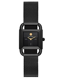 Tory Burch Women's Phipps Black-Tone Stainless Steel Mesh Bracelet Watch 24mm