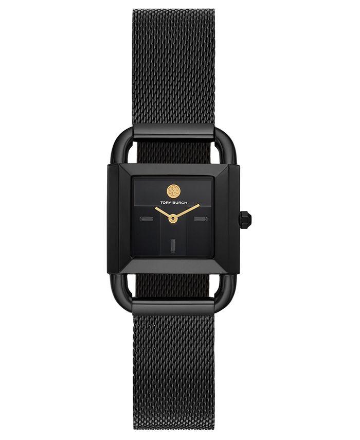 Tory Burch - Women's Phipps Black-Tone Stainless Steel Mesh Bracelet Watch 24mm