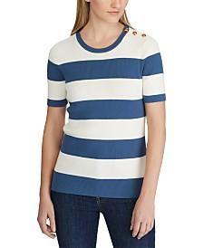 Lauren Ralph Lauren Stripe-Print Button-Trim Short-Sleeve Sweater