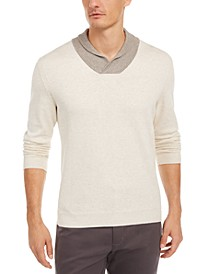 Men's Contrast Shawl-Collar Supima Cotton Sweater, Created for Macy's