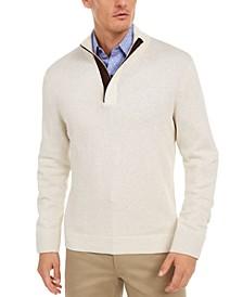 Men's Supima Cotton Textured 1/4-Zip Sweater, Created For Macy's
