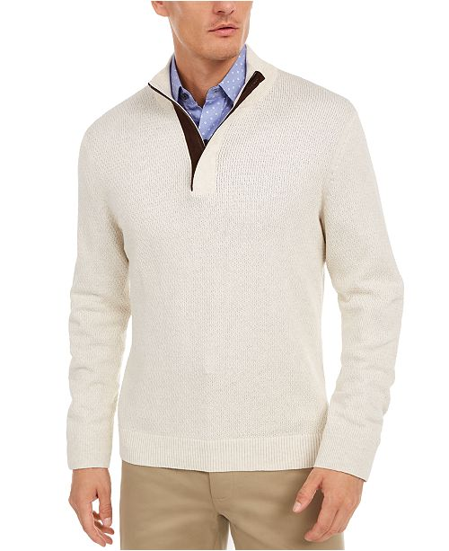 Tasso Elba Men's Supima Cotton Textured 1/4-Zip Sweater, Created For Macy's
