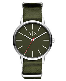 A|X Armani Exchange Men's Cayde Green Nylon Strap Watch 42mm