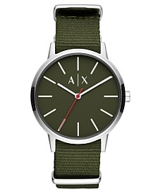 A|X Armani Exchange Men's Cayde Green Nylon Strap Watch 42mm