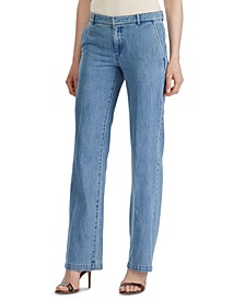Wide-Leg Cotton Denim Pants