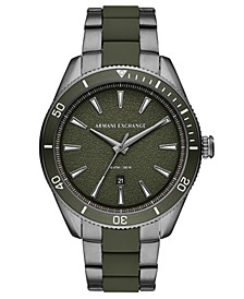 Men's Enzo Gunmetal Stainless Steel & Green Silicone Bracelet Watch 46mm