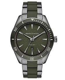 A|X Armani Exchange Men's Enzo Gunmetal Stainless Steel & Green Silicone Bracelet Watch 46mm