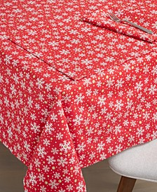 "Snowflake Print Tablecloth, 60"" X 84"""