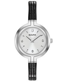 Women's Rhapsody Diamond-Accent Black Leather Strap Watch 30mm