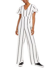 Juniors' V-Neck Jumpsuit