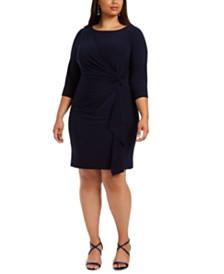 Jessica Howard Plus Size Side-Twist Ruffled Cascade Dress