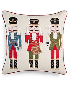 "Martha Stewart Collection Nutcracker 18"" x 18"" Decorative Pillow, Created for Macy's"