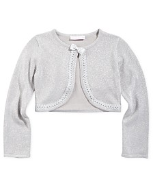 Bonnie Jean Big Girls Cropped Metallic Cardigan