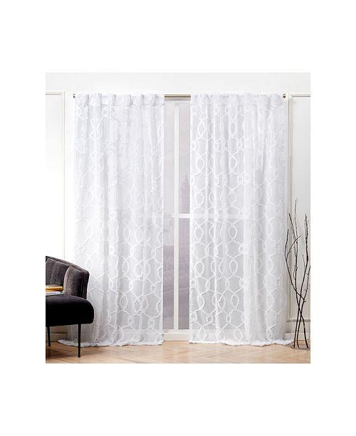 "Nicole Miller Soft Trellis Sheer Hidden Tab Top Curtain Panel Pair, 54"" X 96"""