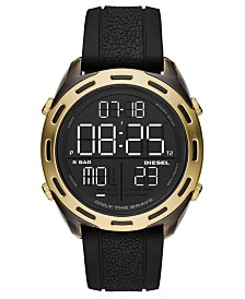 Diesel Men's Digital Crusher Black Silicone Strap Watch 46mm
