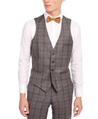 Men's Slim-Fit Gray/Brown Plaid Suit Separate Vest, Created for Macy's
