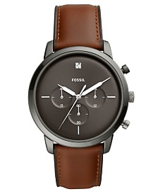 Fossil Men's Chronograph Neutra Brown Leather Strap Watch 44mm