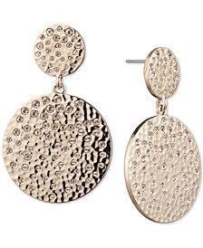 Gold-Tone Pavé Disc Double Drop Earrings