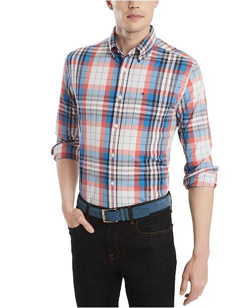 Tommy Hilfiger Men's Custom-Fit Stretch Sammy Plaid Shirt, Created for Macy's