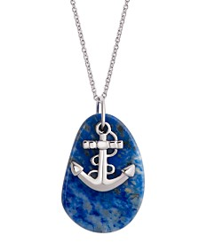 Pendant Necklace with Anchor Charm in Sterling Silver