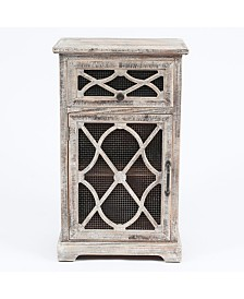 Luxen Home Rustic Wood and Metal Small Console Cabinet