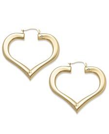 Diamond Accent Heart Hoop Earrings in 14k Gold over Resin