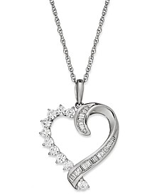 Diamond Baguette Swirl Heart Pendant Necklace in 10k White Gold (1/2 ct. t.w)
