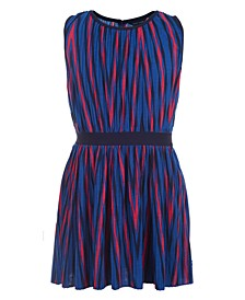 Big Girls Pleated Striped Dress