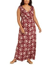 Plus Size Floral-Print Empire-Waist Maxi Dress