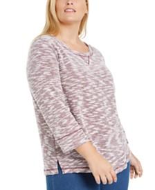 Karen Scott Plus Size Marled Textured Sweatshirt, Created for Macy's
