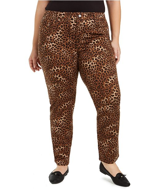 Charter Club Plus Lexington Animal-Print Jeans, Created for Macy's
