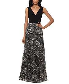 XSCAPE Snake-Embossed Chiffon Gown