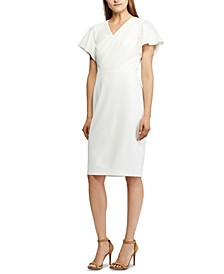 Petite Flutter-Sleeve Crepe Dress
