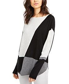 INC Colorblocked Shirttail Sweater, Created for Macy's