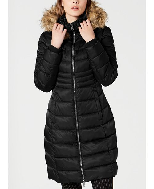 Kenneth Cole Faux-Fur-Trim Hooded Puffer Coat