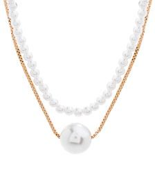 Steve Madden Imitation Pearl Layered Necklace
