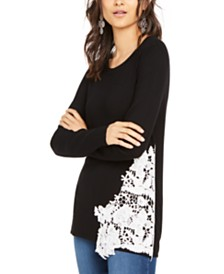 I.N.C. Lace-Hem Sweater, Created for Macy's