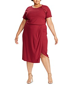 Plus Size Lace-Up Jersey Dress
