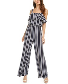 Bar III Ruffle-Trim Striped Jumpsuit, Created for Macy's