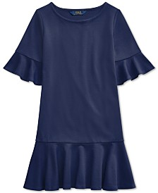 Polo Ralph Lauren Big Girls Ponte Roma Bell-Sleeve Dress