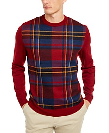 Men's Plaid Panel Merino Wool Blend Sweater, Created for Macy's