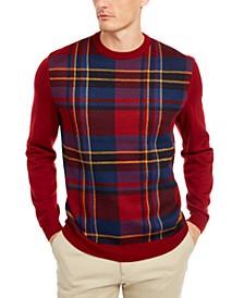 Men's Plaid Panel Merino Sweater, Created for Macy's