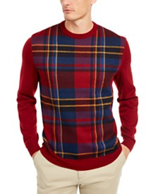 Club Room Men's Regular-Fit Plaid Panel Merino Sweater, Created for Macy's
