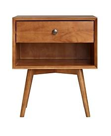 Mid-Century 1 Drawer Solid Wood Nightstand