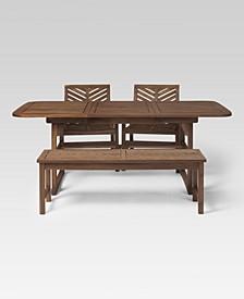 4 Piece Extendable Outdoor Patio Dining Set