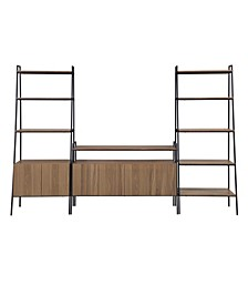 3 Piece Ladder Shelf Storage Entertainment Wall