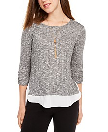 Juniors' Ribbed Layered-Look Top