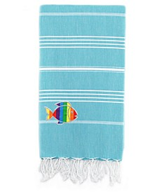 100% Turkish Cotton Lucky Sparkling Rainbow Fish Pestemal Beach Towel