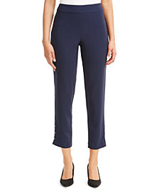 JM Collection Petite Side-Detail Skinny Ankle Pants, Created For Macy's