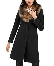 Faux-Fur-Trim Coat, Created for Macy's